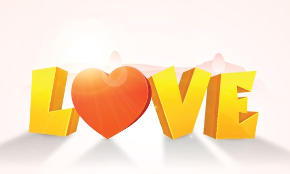 3D Golden Text Love with Heart on glossy background for Happy Valentine's Day celebration.
