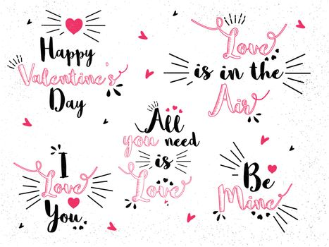 Creative Typographic collection for Happy Valentine's Day Celebration.
