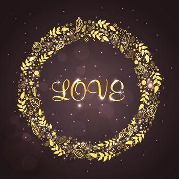 Elegant sparkling floral design frame with Love Calligraphy for Happy Valentine's Day Celebration.