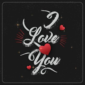 Elegant greeting card design with creative text I Love You and Red Hearts for Happy Valentine's Day celebration.