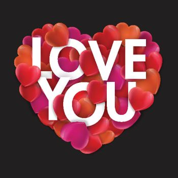 Stylish Text Love You on creative Hearts for Happy Valentine's Day Celebration.