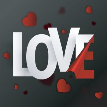 Stylish paper Text Love on red Hearts decorated background for Happy Valentine's Day celebration.