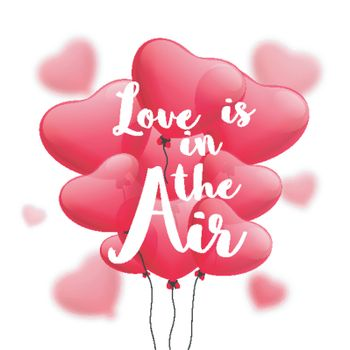 Glossy Red Heart Shaped Balloons with Text Love is in the Air for Happy Valentine's Day Celebration.