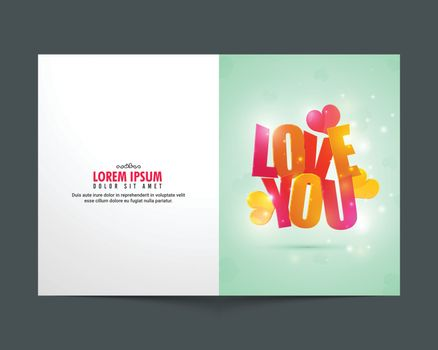 Greeting Card design with Glossy Text Love You for Happy Valentine's Day celebration.