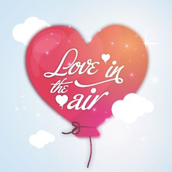 Stylish Text Love in the Air on shiny colorful Heart shaped Balloon for Happy Valentine's Day celebration.