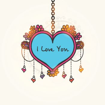 Stylish Text I Love You on floral design decorated creative hanging Heart for Happy Valentine's Day Celebration.