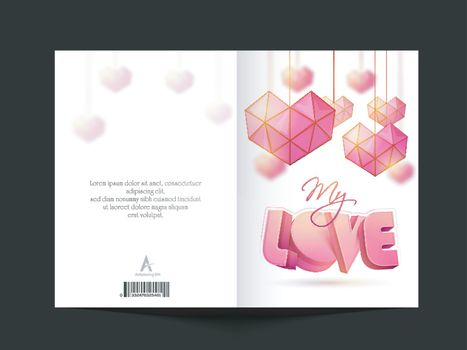 Creative greeting card with Origami style hanging Hearts for Happy Valentine's Day Celebration.
