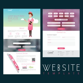 Healthcare and Medical Website Template layout with different details.