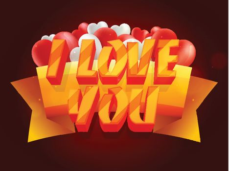 Creative 3D Text I Love You with Ribbon on heart shaped balloons decorated background for Happy Valentine's Day celebration.