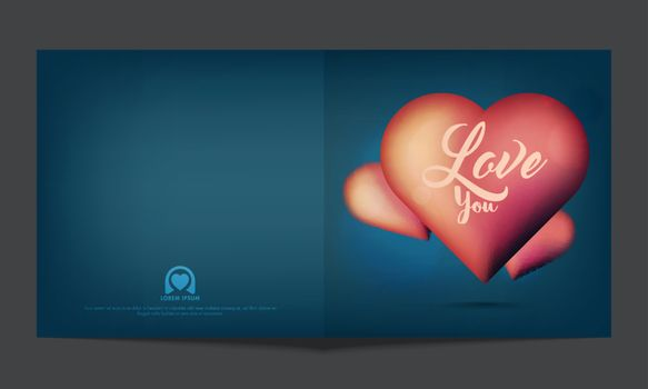 Greeting card design with glossy Hearts and Text Love You for Happy Valentine's Day Celebration.
