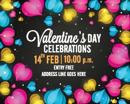Valentine's Day Party celebration Poster, Banner or Flyer design decorated with creative colorful hearts.