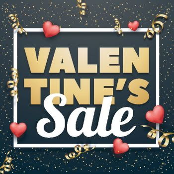 Happy Valentine's Day Sale Poster, Banner, Flyer or Pamphlet with Hearts decoration.