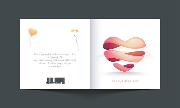 Greeting card with creative Heart for Happy Valentine's Day Celebration.