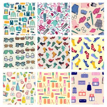 Vector Big set of fashion clothes and accessories seamless patterns on the theme of fashion style concept. Backgrounds for wallpapers, pattern fills, web page, wrapping, textile.