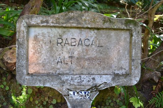 Sign indicating the altitude of Rabaçal on the island of Madeira