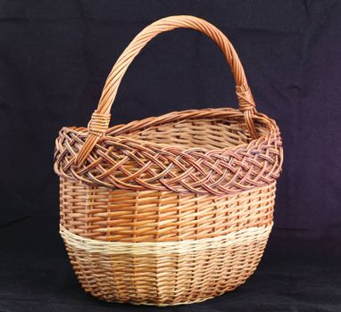 wicker basket on a black background
