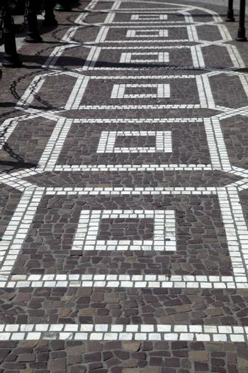 ancient pavement in the form of squares.