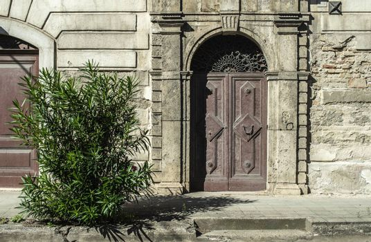 Old typical italian wooden door. Italian house. Ancient house facade. Sunlight. Round door arch. Stone build house. Wrought iron door handles. Green decorative flower.