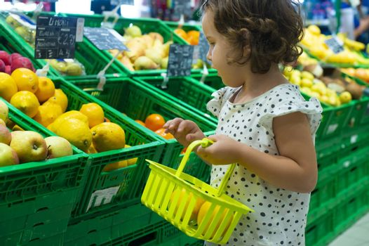 Little girl buying lemons in supermarket. Child hold small basket in supermarket and select citrus fruits. Concept for healthy eating for children.