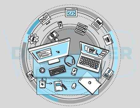 Illustration for promotion of web development services.