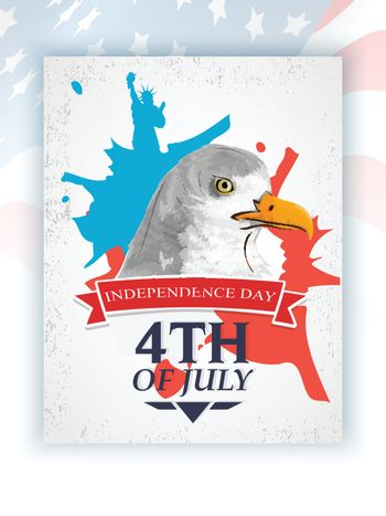 4th of July Flyer Design, with national bird Bald Eagle.