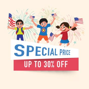 4th of July, celebrations sales discount offer flyer design, with happy kids holding flags.
