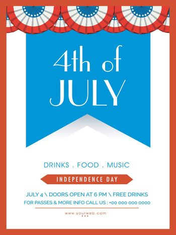 4th of July, American Independence Day celebration Template, Banner or Flyer design.