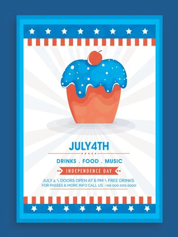 4th of July, Independence Day celebration Template, Banner or Flyer design with illustration of Sweet Cupcake in American Flag colors.