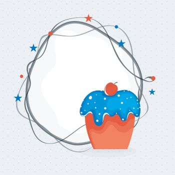 4th of July, Independence Day celebration background with American Flag colors Cupcake and space for your wishes.