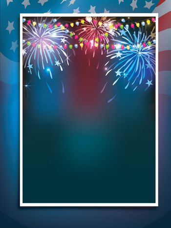 American Flag colors background with colorful firework explosion for 4th of July, Independence Day celebration.