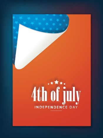 American Flag colors Flyer, Template or Banner design for 4th of July, Independence Day celebration.