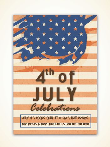 Vintage Flyer, Template or Banner design for 4th of July, American Independence Day celebration.