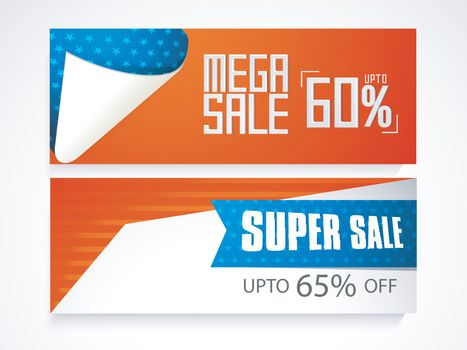 Mega Sale website headers or banners set in American Flag colors for 4th of July, Independence Day celebration.