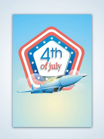 4th of July Template, Banner or Flyer design with illustration of flying fighter plane, American Independence Day celebration concept.