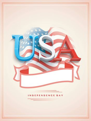 American Flag color text USA with blank ribbon on waving flag background. Creative Template, Banner or Flyer design.