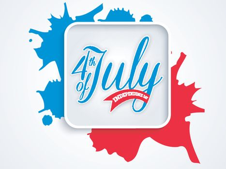 4th of July, American Independence Day background with blue and red splash.