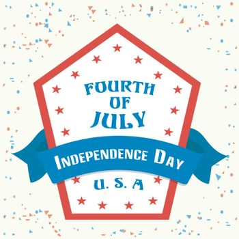 Creative Sticker, Tag or Label design with blue ribbon for Fourth of July, American Independence Day.