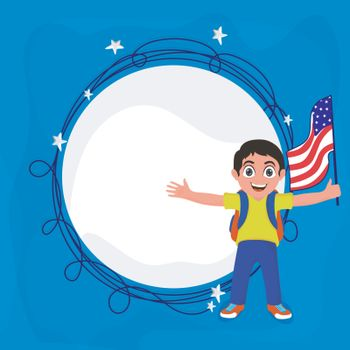 Cute little boy holding American Flag. 4th of July, Independence Day celebration background with space for your text.