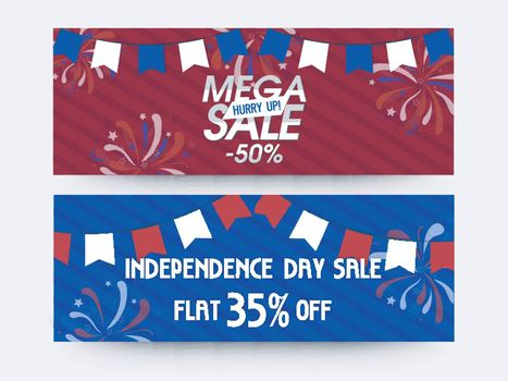 Mega Sale website headers or banners set with Flat Discount Offer for American Independence Day celebration.