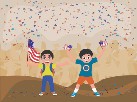 Cute little boys holding American Flags and celebrating on occasion of 4th of July, Independence Day.