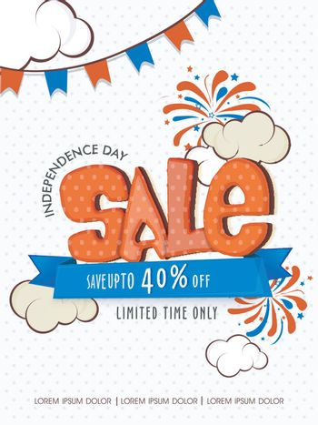 American Independence Day Sale Template, Banner or Flyer design.
