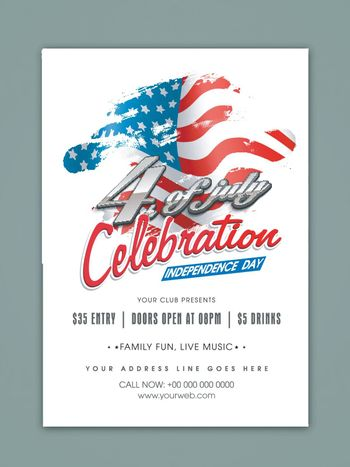 4th of July, Independence Day celebration Template, Banner or Flyer design with waving flag.