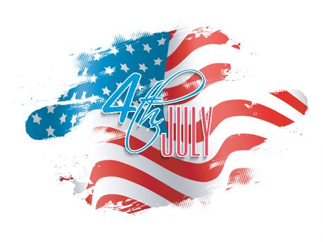 4th of July Text Design on abstract American Flag colors background for Independence Day concept.