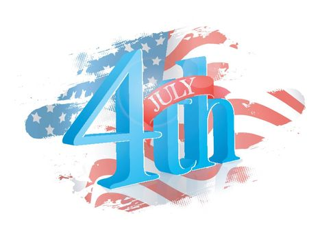 3D 4th July Text Design on abstract American Flag colors background.