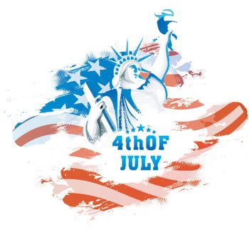 American Flag color background with Statue of Liberty for 4th of July, Independence Day celebration concept.
