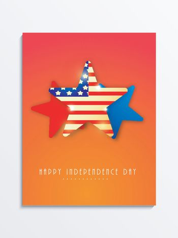 Template, Banner or Flyer design decorated with American Flag color stars for 4th of July, Independence Day celebration.