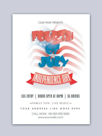Template, Banner or Flyer with Stylish Text  Fourth of July on American Flag  background for Independence Day celebration.