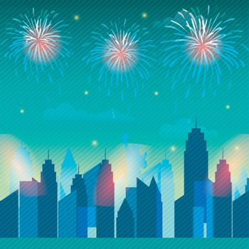 4th of July celebration background with view of New York city skyline and fireworks explosion.