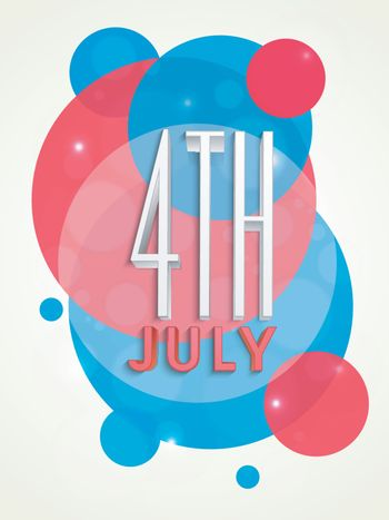 3D text 4th of July on abstract National Flag color background for American Independence Day celebration.