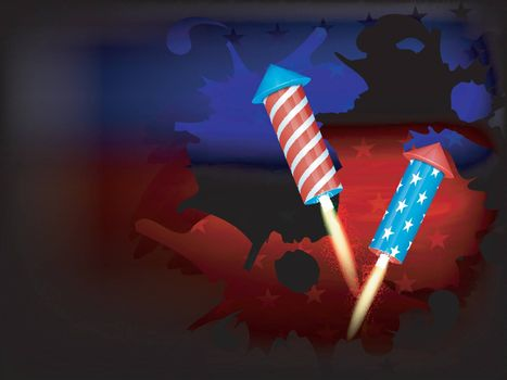 American Independence Day celebration background with flag color rockets.